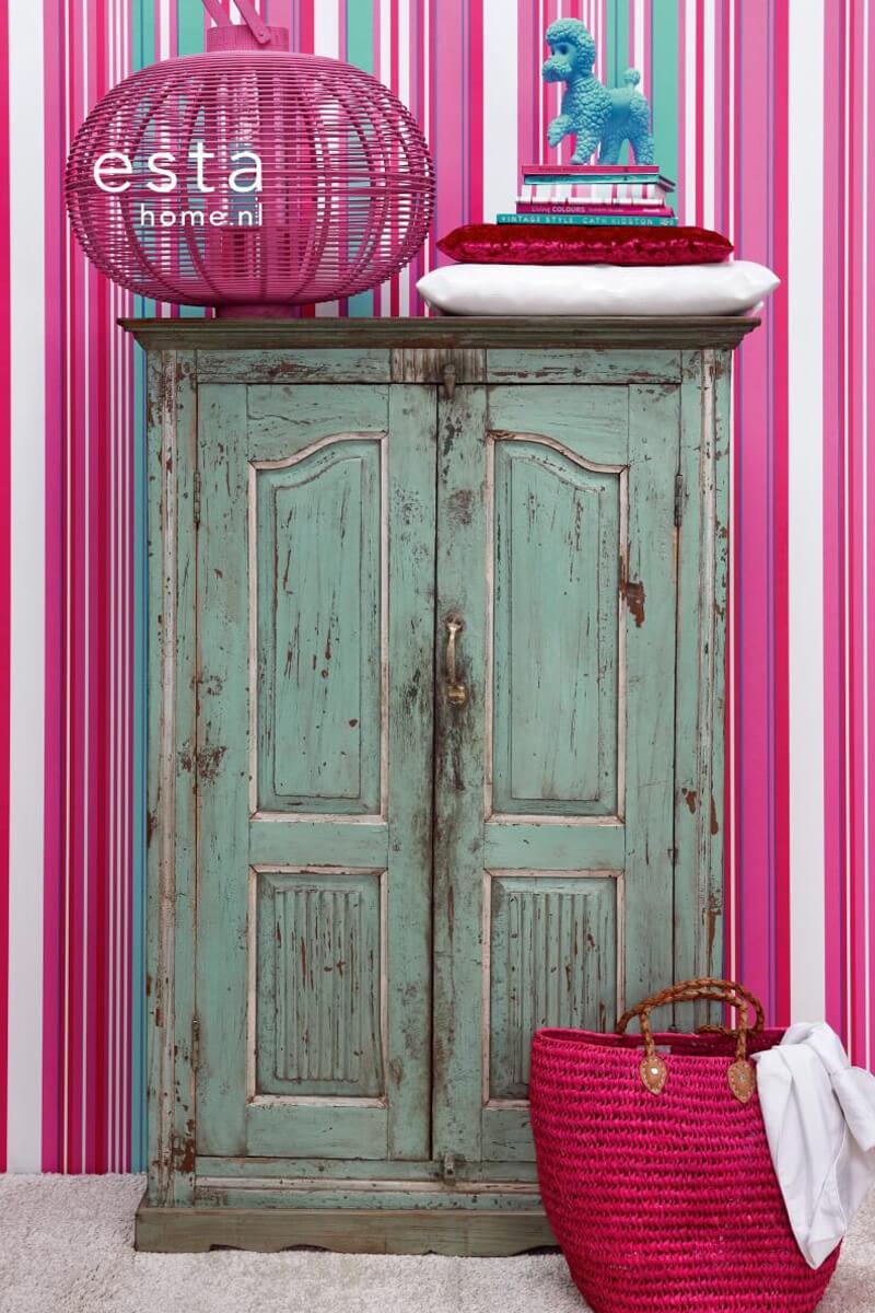 StreifenTapete rosa und turkis