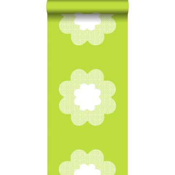 Tapete Spitzen Blumen Lindgrün