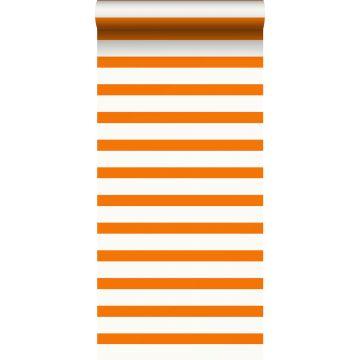 Tapete Streifen Orange und Weiß