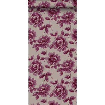 Tapete Aquarell gemalte Rosen Auberginen-Lila und Taupe