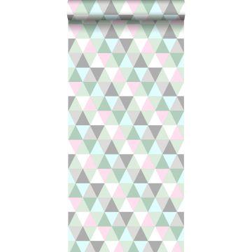 Tapete Dreiecke Rosa, Mintgrün und Grau