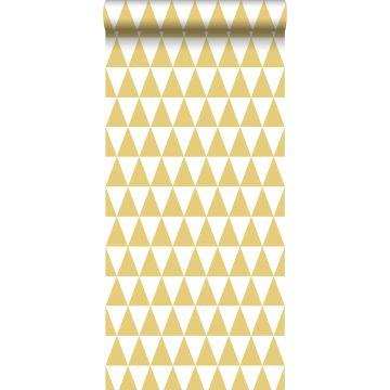 Tapete grafische Dreiecke Ockergelb