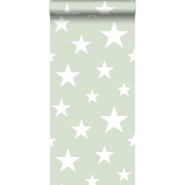Tapete große und kleine Sterne Mintgrün und Weiß