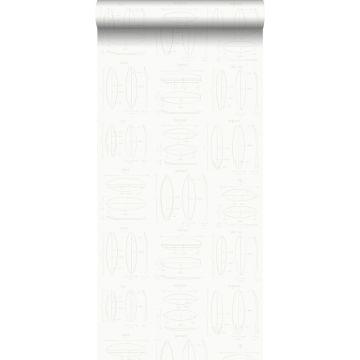 Tapete technische Zeichnungen von Surfbrettern Weiß und Silber