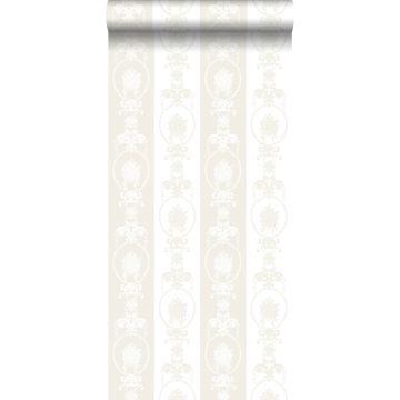 Tapete Barockmuster Weiß und Silber