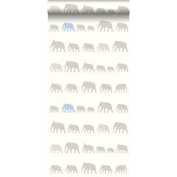 Tapete Elefanten Silber und Hellblau