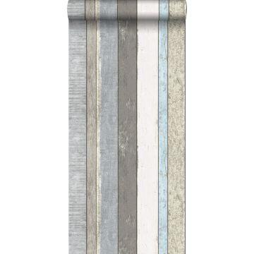 Tapete Holzoptik Grau und Hellblau