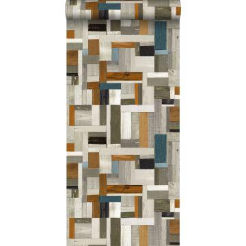 Tapete Holz-Optik Grau, Braun und Graublau