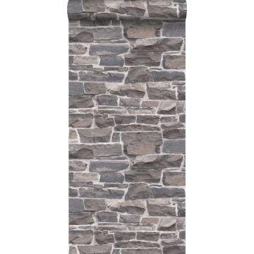 Tapete Stein-Optik Blau und Grau