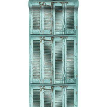 Tapete verwitterte, französische, vintage Fensterläden Grautürkis