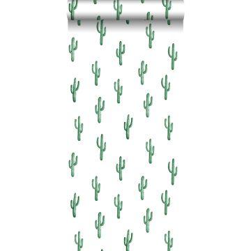 Tapete kleine Wüstenkakteen Smaragdgrün