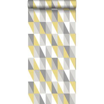Tapete grafische Dreiecke Ockergelb und Grau