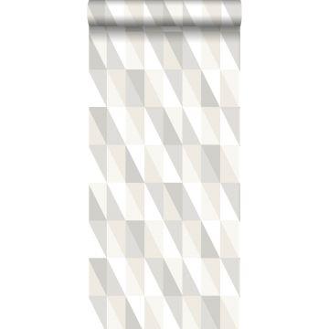 Tapete grafische Dreiecke Silber, Grau und Beige