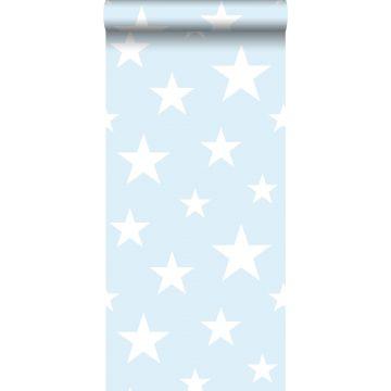 Tapete große und kleine Sterne Hellblau und Weiß