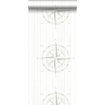 Tapete Kompassrose auf Altholz Silber und Weiß