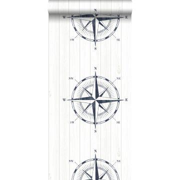 Tapete Kompassrose auf Altholz Dunkelblau und Weiß