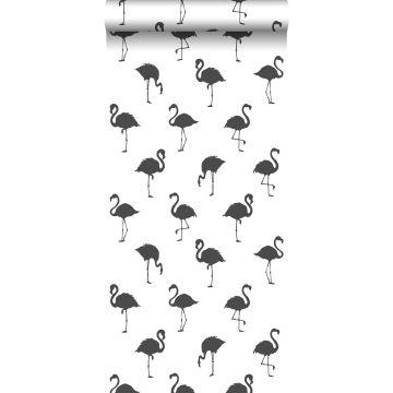 Tapete Flamingos Schwarz und Weiß