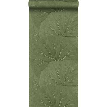 Tapete große Blätter Olivgrün