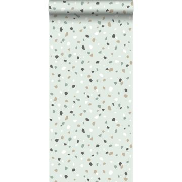 Tapete Terrazzo-Motiv Mintgrün, Weiß und Grau