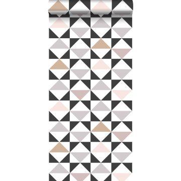 Tapete grafische Dreiecke Weiß, Schwarz, Grau und Altrosa
