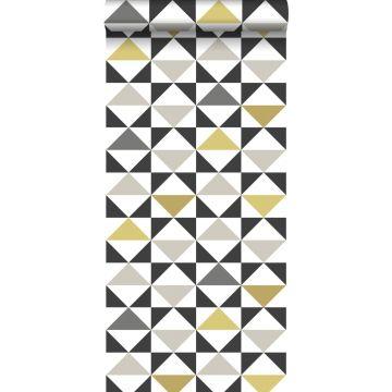 Tapete grafische Dreiecke Weiß, Schwarz, Grau und Ockergelb