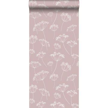 Tapete Doldenblütler Altrosa und Weiß