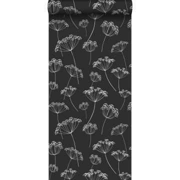 Tapete Doldenblütler Schwarz-Weiß