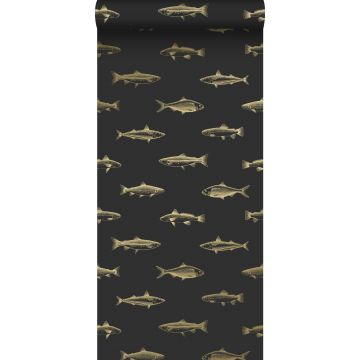 Tapete Federzeichnung Fisch Schwarz und Gold