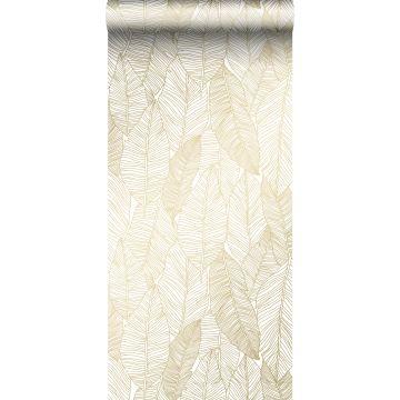 Tapete gezeichnete Blätter Weiß und Gold