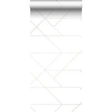 Tapete grafischen Linien Weiß und Gold