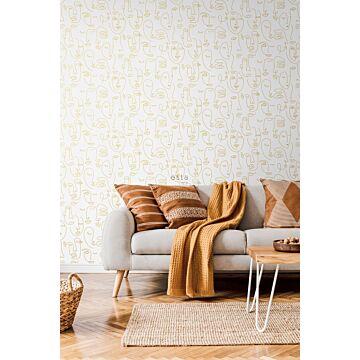 Wohnzimmer Tapete Gesichter Weiß und Gold 139146