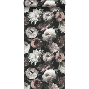 Tapete Blumen Schwarz, Weiß und Hellrosa