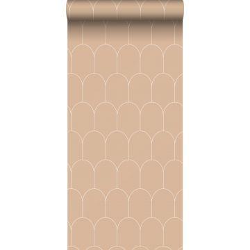 Tapete Art Decó Muster Pfirsichrosa und Weiß