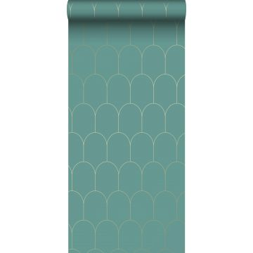 Tapete Art Decó Muster Meeresgrün und Gold
