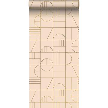 Tapete Art Decó Muster Pfirsichrosa und Gold