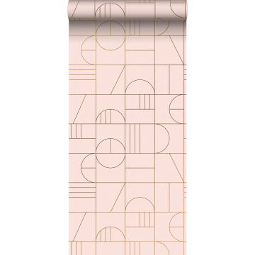Tapete Art Decó Muster Hellrosa und Gold