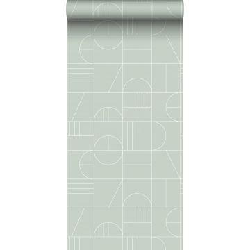 Tapete Art Decó Muster Mintgrün und Weiß