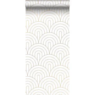 Tapete Art Decó Muster Weiß und Gold