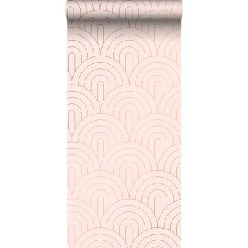 Tapete Art Decó Muster Hellrosa und Roségold