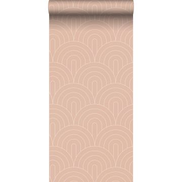 Tapete Art Decó Muster Pfirsichrosa
