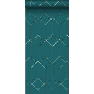 Tapete Art Decó Muster Gold, Grün und Blau