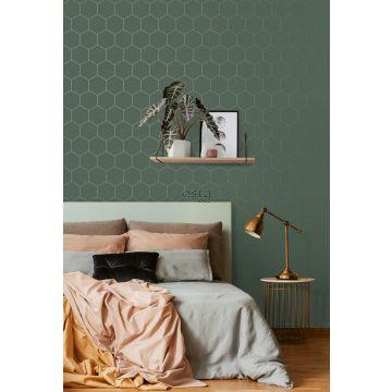 Schlafzimmer Tapete Wabenmuster Dunkelgrün und Gold 139228