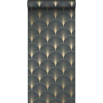 Tapete Art Decó Muster Dunkelblau und Gold