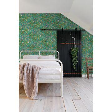 Schlafzimmer Tapete tropische Dschungelblätter und Paradiesvögel Petrolblau und Dschungelgrün 139233