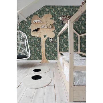 Kinderzimmer Tapete Affen Dunkelgrün 139234
