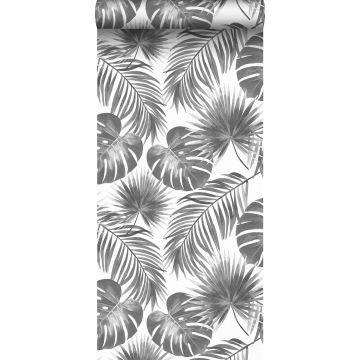 Tapete tropische Blätter Schwarz-Weiß