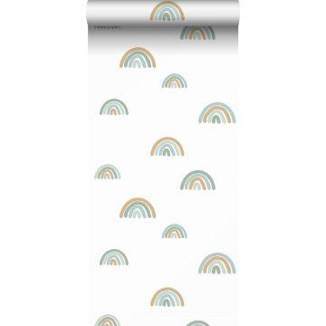 Tapete Regenbogen Graublau, Hellblau und Beige