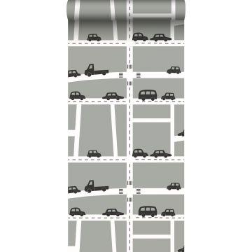 Tapete Autos Grau, Schwarz und Weiß