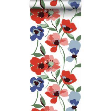 Tapete Mohnblumen Rot, Blau und Grün