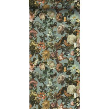 Tapete Blumen Graublau